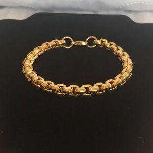 NWOT Mens Gold Plated StainlessSteelChain Bracelet